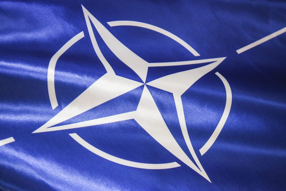 January 12, 2017 - Krakow, Poland - A flag with official emblem of NATO during press conference for the opening of NATO Counter Intelligence Centre of Excellence (CI COE) opens in Krakow, Poland on 19 October, 2017. Krakow Poland PUBLICATIONxINxGERxSUIxAUTxONLY - ZUMAn230 20170112_zaa_n230_1293 Copyright: xBeataxZawrzelx