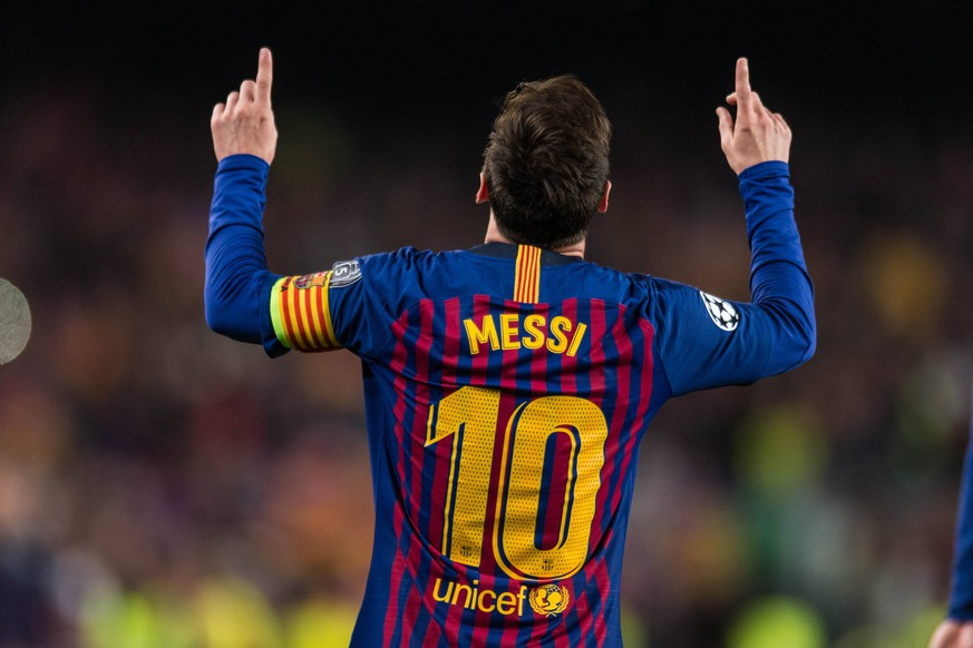 Barcelona, Spain, 16.04.2019, UEFA Champions League - 2018/19 Season, Viertelfinale, 2. Runde, FC Barcelona Barca - Manchester United ManU Lionel Messi (Barcelona) celebrates his team s second goal ( DeFodi059 *** Barcelona Spain 16 04 2019 UEFA Champions League 2018 19 Season Quarter Final 2 Round FC Barcelona Manchester United Lionel Messi Barcelona celebrates his team s second goal DeFodi059