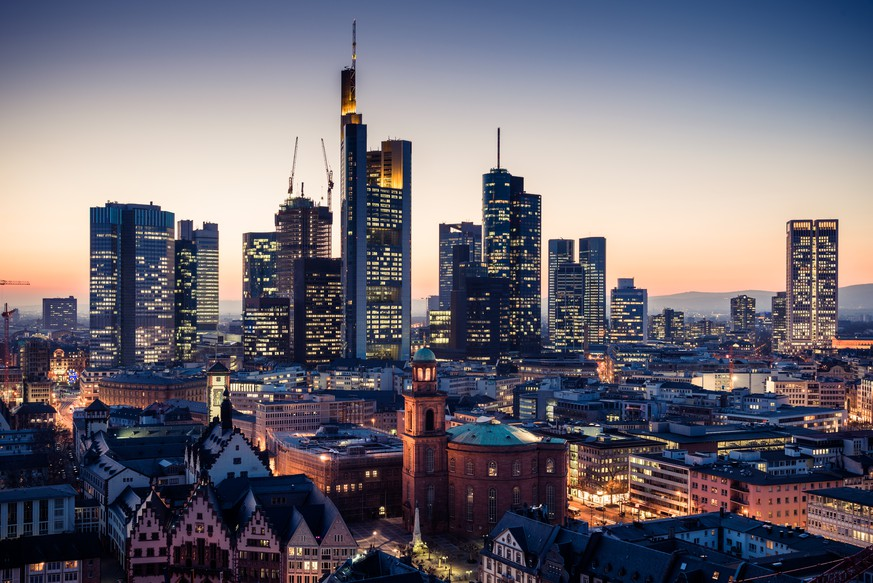 Frankfurt am Main Skyline with skyscrapers and finance district