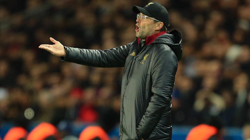 Liverpool manager Jurgen Klopp reacts in frustration during the UEFA Champions League Group C match at the Parc des Princes Stadium, Paris. Picture date: 28th November 2018. Picture credit should read: Matt McNulty/Sportimage PUBLICATIONxNOTxINxUK B69P4105.JPG