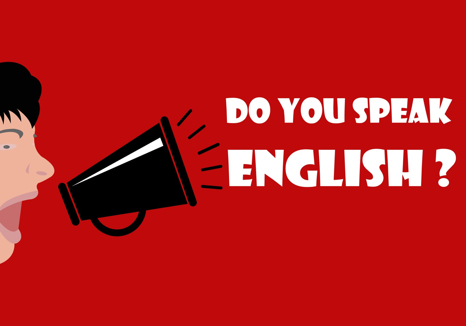 People yell over the megaphone. Do you speak English? - Concept of learning English. Flat design, vector illustration