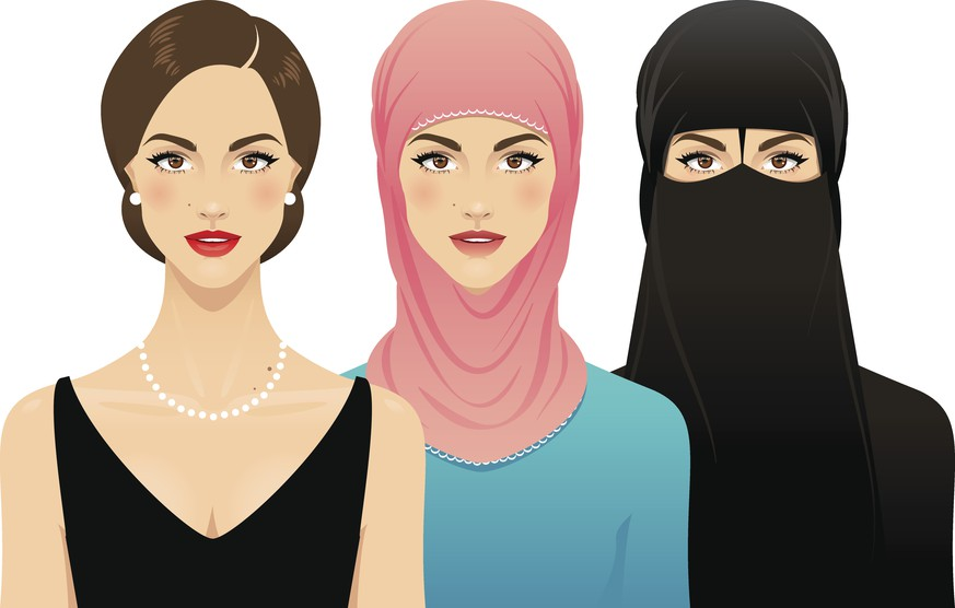 Three young women, one wearing a hijab and one wearing a nikab, standing shoulder to shoulder, isolated on a white background. Women's rights concept.
