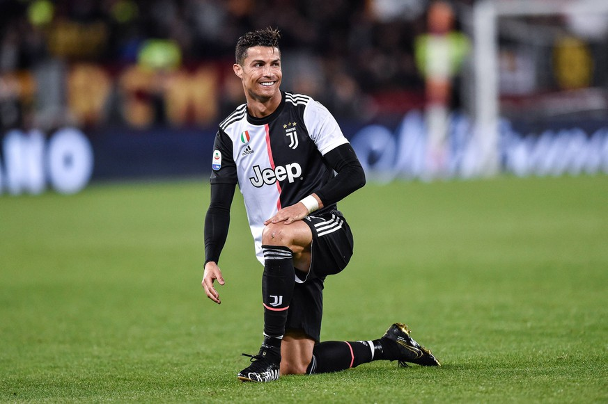 Cristiano Ronaldo of Juventus smiles during the Serie A match between Roma and Juventus at Stadio Olimpico, Rome, Italy on 12 May 2019. PUBLICATIONxNOTxINxUK Copyright: xGiuseppexMaffiax 24020089