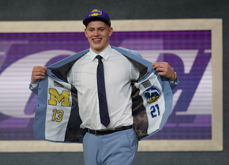 Jun 21, 2018; Brooklyn, NY, USA;  Moritz Wagner (Michigan) reacts after being selected as the number twenty-five overall pick to the Los Angeles Lakers in the first round of the 2018 NBA Draft at the Barclays Center. Mandatory Credit: Brad Penner-USA TODAY Sports