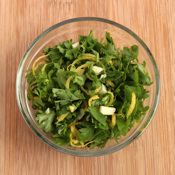 Gremolata, italian condiment made with parsley, garlic and lemon zest