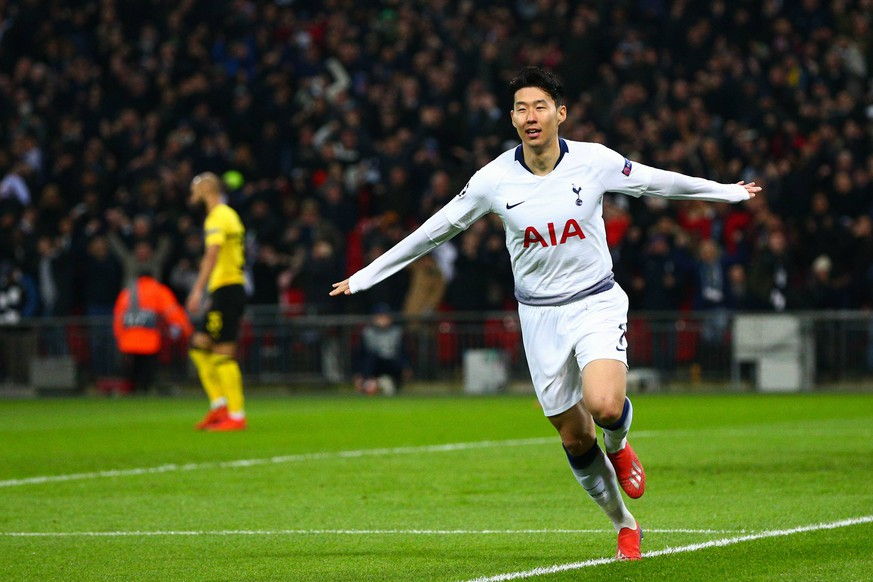 Heung-Min Son of Tottenham Hotspur celebrates scoring the opening goal during the UEFA Champions League Round of 16 First Leg match at Wembley Stadium, London. Picture date: 13th February 2019. Picture credit should read: Craig Mercer/Sportimage PUBLICATIONxNOTxINxUK CM2_0286.JPG