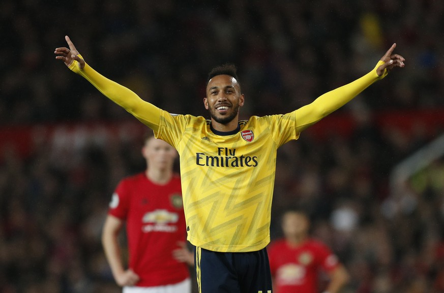 Pierre-Emerick Aubameyang of Arsenal celebrates scoring the equalising goal during the Premier League match at Old Trafford, Manchester. Picture date: 30th September 2019. Picture credit should read: Darren Staples/Sportimage PUBLICATIONxNOTxINxUK SPI-0237-0046