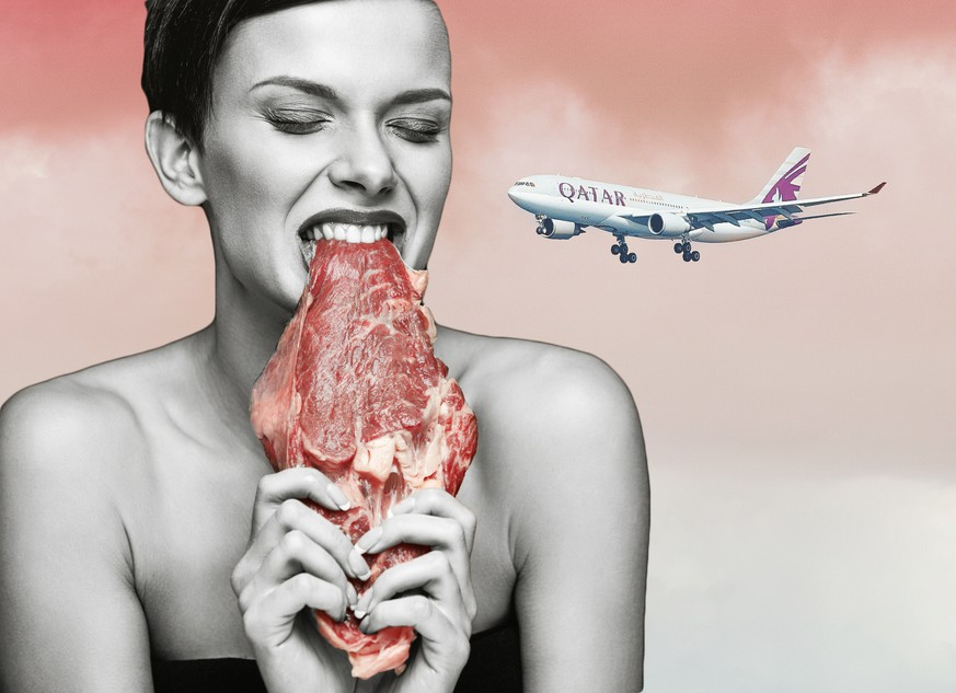 Eating Meat. Hungry Woman With Red Lips Ripping Raw Meat With Teeth. Portrait Of Healthy Girl With Beautiful Face Makeup Biting Beef Steak Meat With Greed. Food And Nutrition Concept. High Resolution