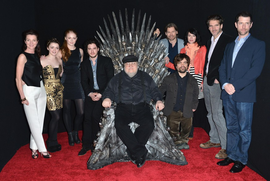 HOLLYWOOD, CA - MARCH 19:  Actors Michelle Fairley, Maisie Williams, Sophie Turner, Kit Harington, executive producer George R.R. Martin, actors Nikolaj Coster-Waldau, Peter Dinklage, Lena Headey, co-creator/executive producer David Banioff and co-creator/executive producer D.B. Weiss attend The Academy of Television Arts & Sciences'  Presents An Evening With