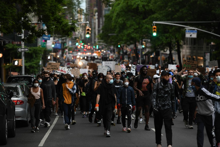 June 2, 2020, New York, New York, United States: Protesters walk out in Park Ave midtown Manhattan on Monday, rallies in New York City grow larger a day after Trump calls on governors, military, police to -dominate- the streets, as America rages against racial injustice. New York United States - ZUMAl113 20200602zapl113020 Copyright: xMiguelxJuarezxLugox