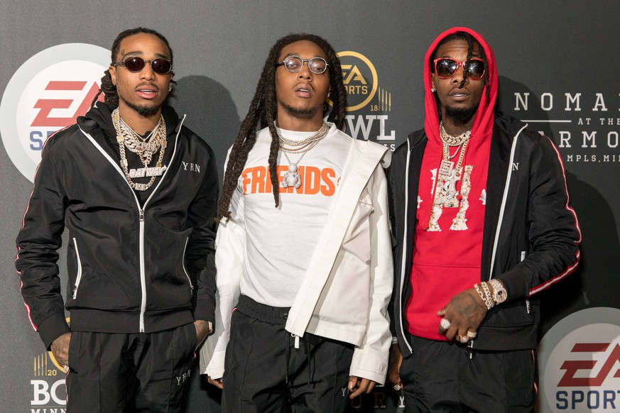 February 1, 2018 - Minneapolis, Minnesota, U.S - QUAVO, TAKEOFF and OFFSET of Migos pose backstage during the EA Sports Bowl at The Armory in Minneapolis, Minnesota Minneapolis U.S. PUBLICATIONxINxGERxSUIxAUTxONLY - ZUMAs135 20180201_zap_s135_026 Copyright: xDanielxDeSloverx