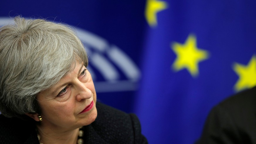 British Prime Minister Theresa May attends a news conference with European Commission President Jean-Claude Juncker in Strasbourg, France March 11, 2019. REUTERS/Vincent Kessler