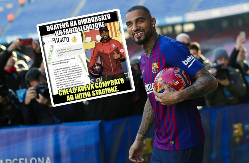 22nd January 2019, Camp Nou, Barcelona, Spain; FC Barcelona Barca new signing Kevin Prince Boateng press conference PK Pressekonferenz Kevin Prince Boateng of FC Barcelona is all smiles as he heads to the pitch PUBLICATIONxINxGERxSUIxAUTxHUNxSWExNORxDENxFINxONLY ActionPlus12098170 EricxAlonso