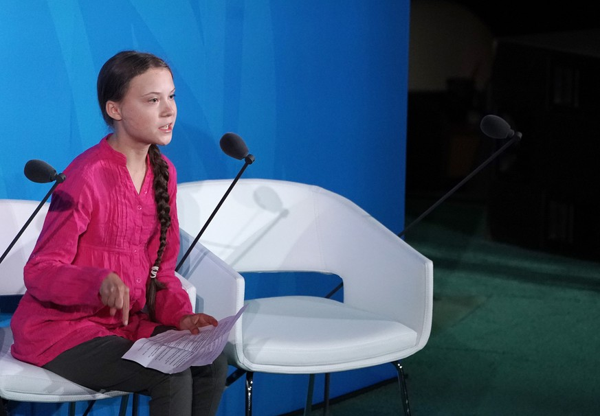 Swedish environmental activist Greta Thunberg speaks at the Climate Action Summit at the 74th General Debate at the United Nations General Assembly at United Nations Headquarters at in New York City on September 23, 2019. PUBLICATIONxINxGERxSUIxAUTxHUNxONLY NYP20190923953 JEMALxCOUNTESS