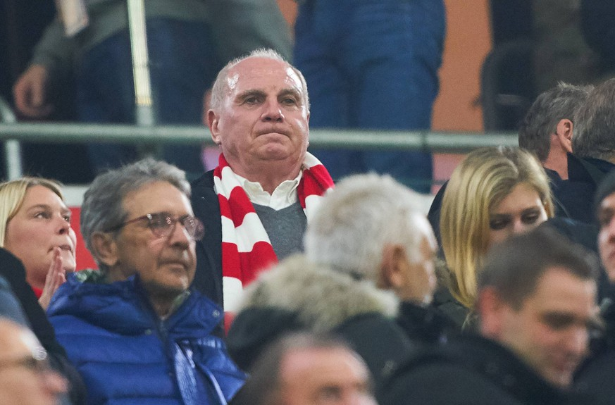 Uli HOENESS (FCB President ), FCB President and chairman, half-size, portrait, sad, disappointed, angry, Emotions, disappointment, frustration, frustrated, sadness, desperate, despair, FC BAYERN MUNICH - BENFICA LISBON 5-1 UEFA Football Champions League , Munich, November 27, 2018, Season 2018/2019, group stage, group E, FCB, Lissabon, Photographer: Peter Schatz / MAGICS