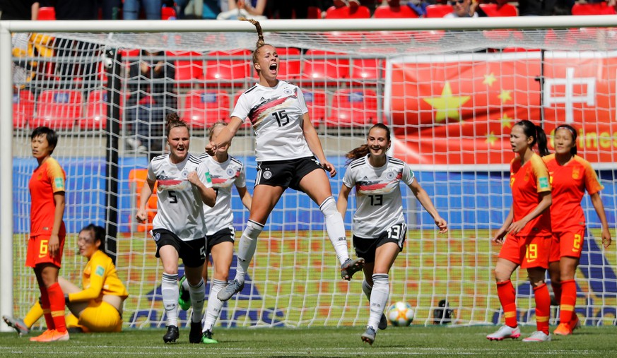 Soccer Football - Women's World Cup - Group B - Germany v China - Roazhon Park, Rennes, France - June 8, 2019  Germany's Giulia Gwinn celebrates scoring their first goal with team mates  REUTERS/Stephane Mahe