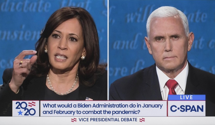 October 07, 2020 - Salt Lake City, Utah, USA. - Screen grab of C-SPAN s coverage of the 2020 vice presidential debate held on the campus of the University of Utah between Democratic candidate KAMALA HARRIS and Vice President MIKE PENCE. Salt Lake City U.S. - ZUMAce6_ 20201007_zaf_ce6_020 Copyright: xC-Spanx
