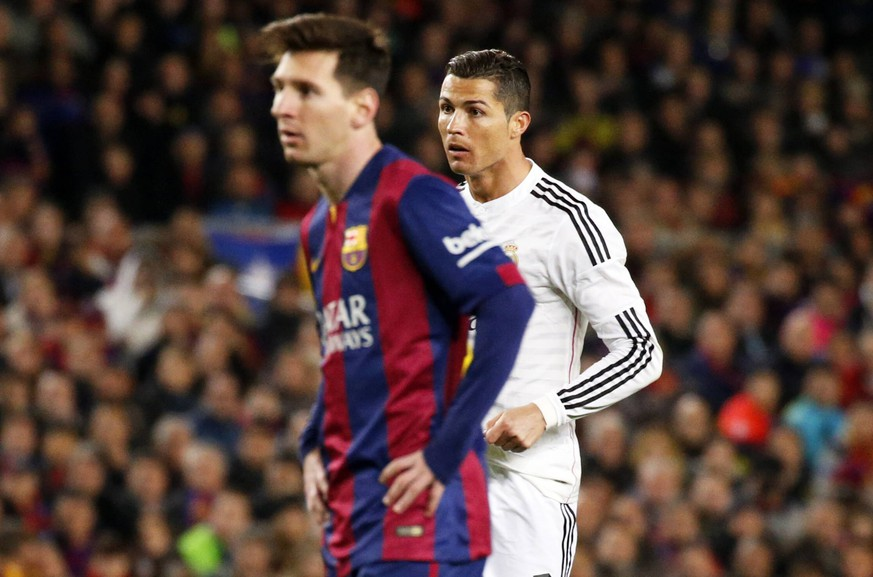 March 22, 2015 - Barcelona, Spain - BARCELONA - jmarch 22- SPAIN: Leo Messi and Cristiano Ronaldo in the match between FC Barcelona Barca and Real Madrid, for the week 28 of the Liga BBVA, played at the Camp Nou, on march 22, 2015. Photo: Joan Valls/Urbanandsport/Cordon Press FC Barcelona Vs Real Madrid, for the week 28 of the Liga BBVA PUBLICATIONxINxGERxSUIxAUTxONLY - ZUMAn230  March 22 2015 Barcelona Spain Barcelona  22 Spain Leo Messi and Cristiano Ronaldo in The Match between FC Barcelona Barca and Real Madrid for The Week 28 of The League BBVA played AT The Camp Nou ON March 22 2015 Photo Joan Valls  Cordon Press FC Barcelona vs Real Madrid for The Week 28 of The League BBVA PUBLICATIONxINxGERxSUIxAUTxONLY