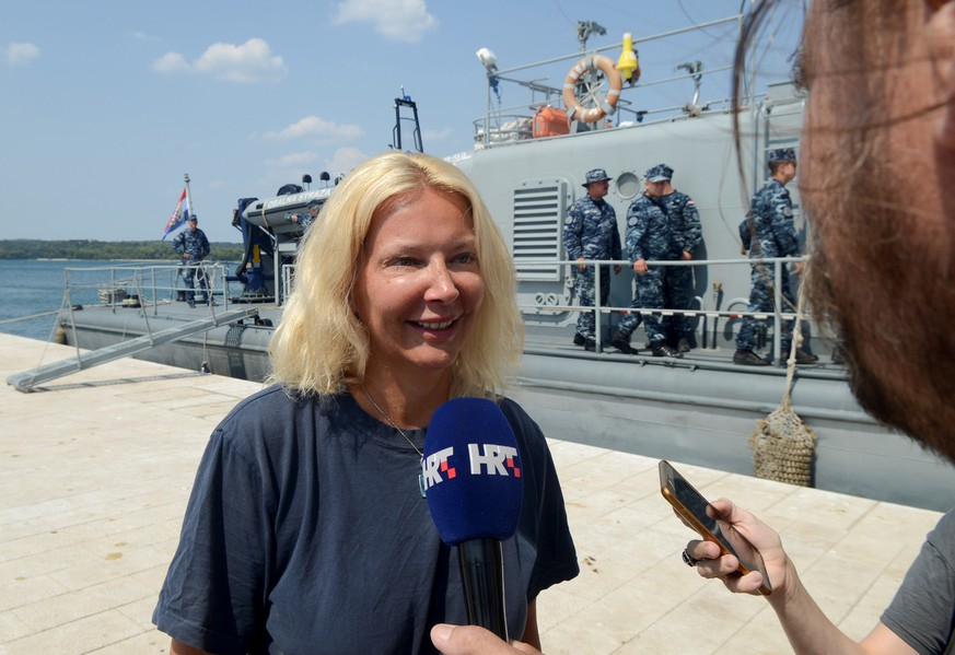 British tourist Kay Longstaff speaks to press in Pula, Croatia, after being rescued from the Adriatic sea, August 19, 2018.ÊPicture taken August 19, 2018. REUTERS/Stringer