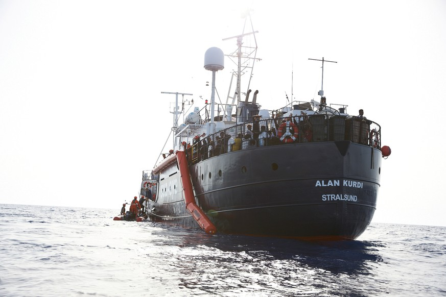 A rescue vessel Alan Kurdi is seen 34 miles from the Libyan coast according to Sea-eye, in this picture obtained from social media on July 5, 2019.  Courtesy of Sea-eye/Social Media via REUTERS   THIS IMAGE HAS BEEN SUPPLIED BY A THIRD PARTY.  MANDATORY CREDIT.  NO RESALES. NO ARCHIVES.