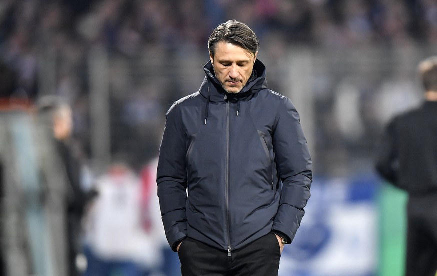 FILE - In this Oct. 29, 2019 file photo, Bayern's head coach Niko Kovac looks down during the German soccer cup, DFB Pokal, second Round match between VfL Bochum and Bayern Munich in Bochum, Germany. Bayern Munich has fired coach Niko Kovac one day after the German champion slumped to its heaviest Bundesliga defeat in more than 10 years. Bayern lost 5-1 at Kovac's former team Eintracht Frankfurt on Saturday. (AP Photo/Martin Meissner)