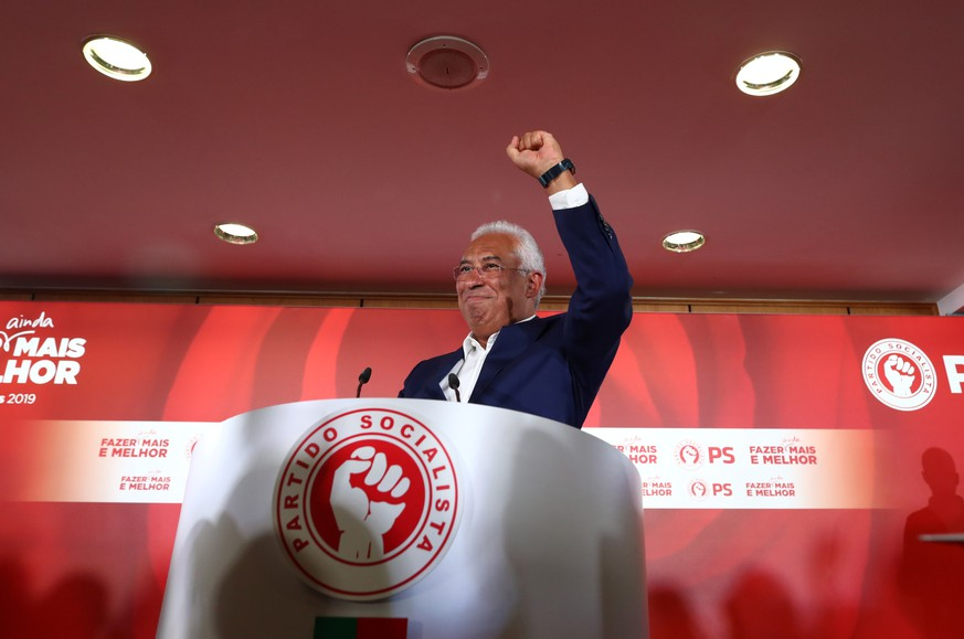 Portugal's Prime Minister and Socialist Party (PS) candidate Antonio Costa reacts after preliminary results in the general election in Lisbon, Portugal, October 7, 2019. REUTERS/Jon Nazca