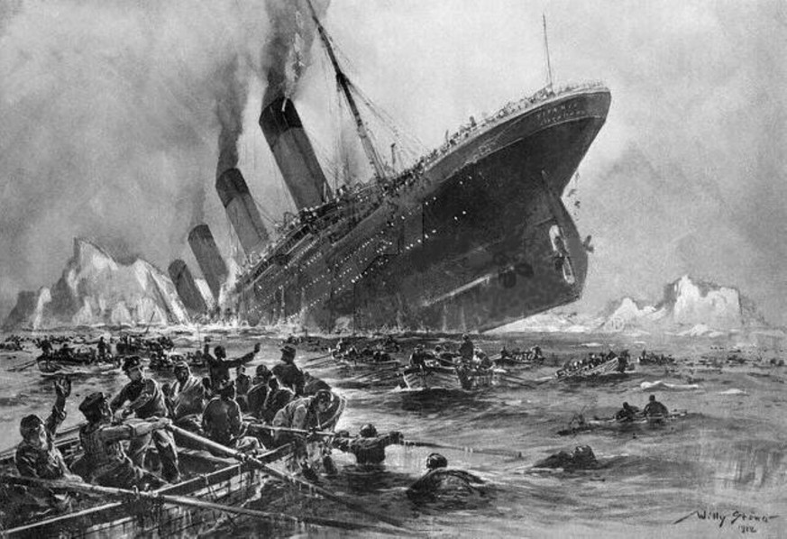 April 13, 2012 - With the 100th Anniversary of the Titanic sinking, the world remembers those who lost their lives on the unsinkable ship. Sunday marks the anniversary of the HMS Titanic after a collision with an iceberg. Approximately 2,224 people were on board and 1,514 were killed. PICTURED: This artist rendering is how the German artist Willy Stoewer visualized the nightmare of the sinking of the Titanic, as survivors struggled to get away from the stricken liner. PUBLICATIONxINxGERxSUIxAUTxONLY - ZUMAz03_