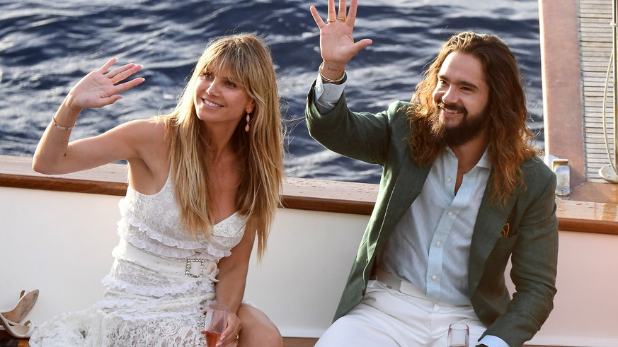 Model Heidi Klum and Tom Kaulitz are seen on a boat ahead their wedding on August 02, 2019 in Capri, Italy.  Pictured: Heidi Klum,Tom Kaulitz Ref: SPL5107292 020819 NON-EXCLUSIVE Picture by: SplashNews.com  Splash News and Pictures Los Angeles: 310-821-2666 New York: 212-619-2666 London: 0207 644 7656 Milan: +39 02 56567623 photodesk@splashnews.com  World Rights, No France Rights, No Italy Rights, No Switzerland Rights