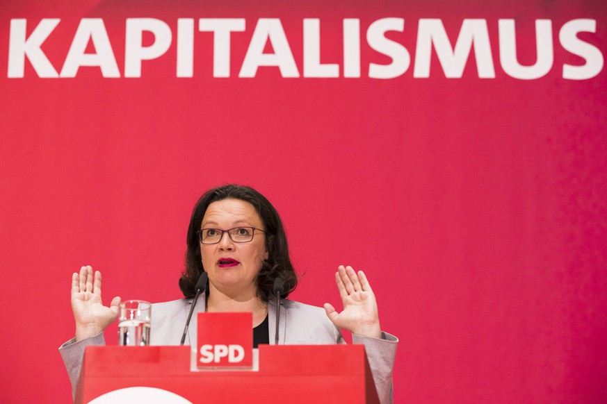 June 13, 2018 - Berlin, Germany - Chairwoman of the German Social Democratic party (SPD) Andrea Nahles speaks during an event regarding Solidarity and Digital Capitalism at Willy-Brandt-Haus in Berlin, Germany on June 13, 2018. Berlin Germany PUBLICATIONxINxGERxSUIxAUTxONLY - ZUMAn230 20180613_zaa_n230_857 Copyright: xEmmanuelexContinix