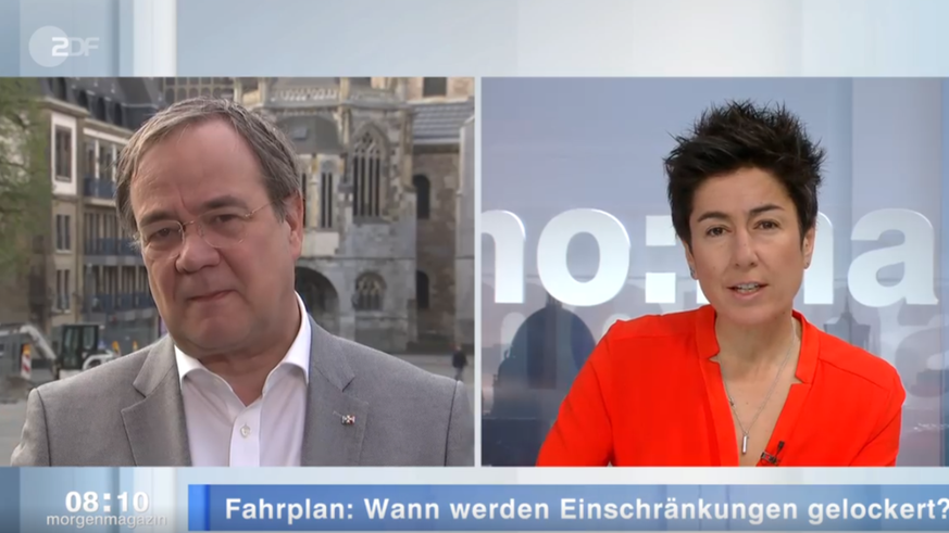 Laschet reagiert patzig auf eine Frage von ZDF-Moderatorin Dunja Hayali