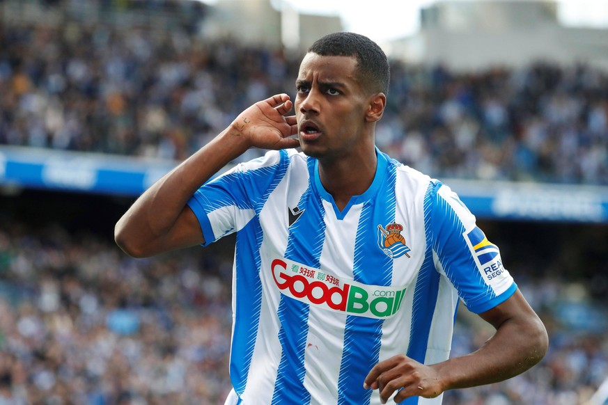 Real Sociedad s Alexander Isak celebrates after scoring during a Spanish LaLiga soccer match between Real Sociedad and Athletic Bilbao at Reale Arena in San Sebastian, Basque Country, northern Spain, 09 February 2020. Real Sociedad vs. Athletic Bilbao ACHTUNG: NUR REDAKTIONELLE NUTZUNG PUBLICATIONxINxGERxSUIxAUTxONLY Copyright: xJavierxEtxezarretax GRAF7531 20200209-637168622464554228