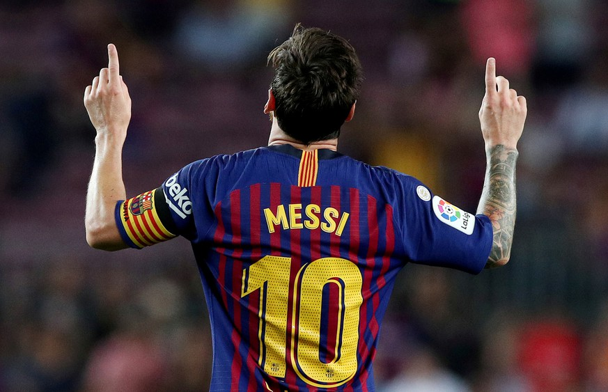 FILE PHOTO: Soccer Football - La Liga Santander - FC Barcelona v Alaves - Camp Nou, Barcelona, Spain - August 18, 2018   Barcelona's Lionel Messi celebrates scoring their third goal    REUTERS/Albert Gea/File Photo