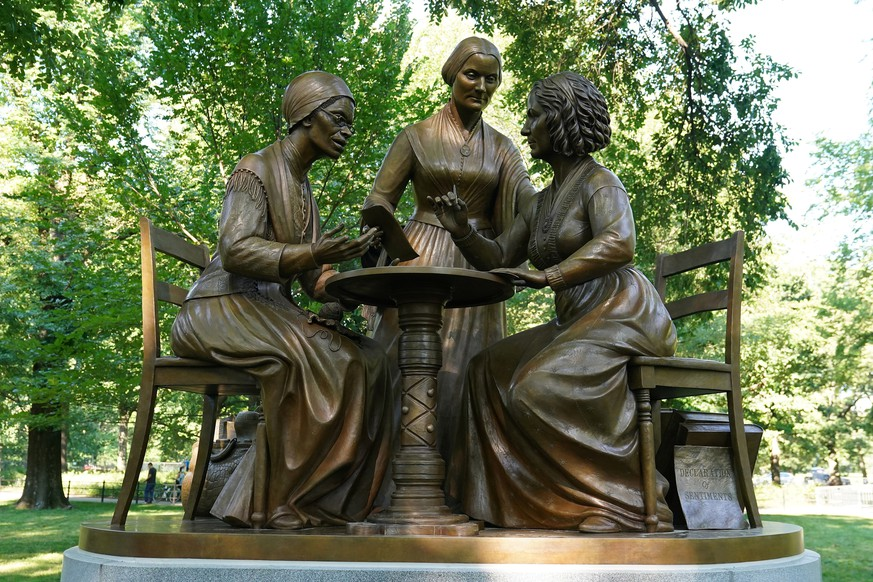 A bronze statue depicting Sojourner Truth, Elizabeth Cady Stanton and Susan B. Anthony is pictured following the 100th anniversary of the ratification of the 19th Amendment in Central Park in the Manhattan borough of New York City, New York, U.S., August 26, 2020. The statue is the first to feature non-fictional women in Central Park's history. REUTERS/Carlo Allegri    NO RESALES. NO ARCHIVES