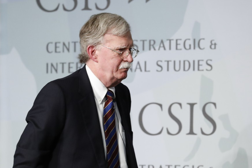 Former National security adviser John Bolton walks off stage after speakings at the Center for Strategic and International Studies in Washington, Monday, Sept. 30, 2019. (AP Photo/Pablo Martinez Monsivais) |
