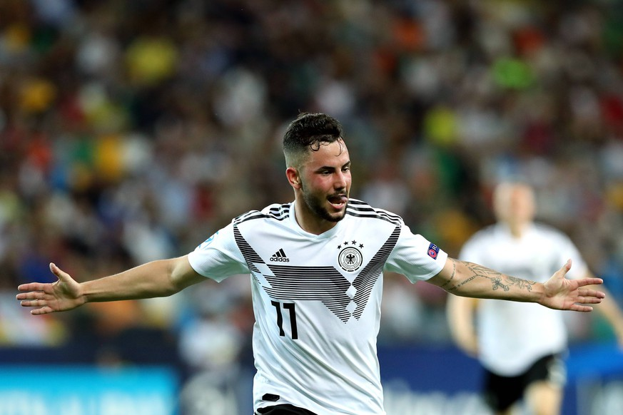 Marco Richter of Germany celebrates after scoring the goal of 2-0 Udine 17-06-2019 Stadio Friuli Football UEFA Under 21 Championship Italy 2019 Group Stage - Final Tournament Group A Germany - Denmark Photo Cesare Purini / Insidefoto PUBLICATIONxNOTxINxITA cesarexpurini