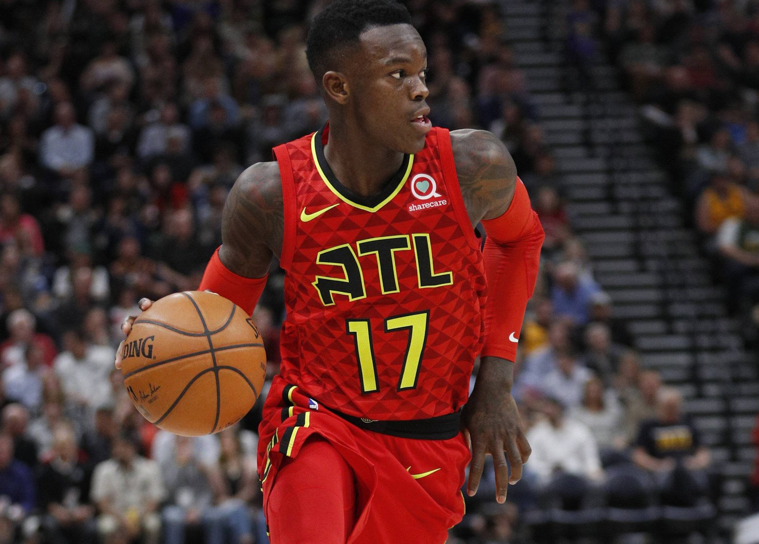 Atlanta Hawks guard Dennis Schroder brings the ball down court during a basketball game of the NBA Basketball Herren USA against Utah Jazz at Energy Solutions Arena in Salt Lake City, Utah, US, 20 March 2018. Atlanta Hawks at Utah Jazz !ACHTUNG: NUR REDAKTIONELLE NUTZUNG! PUBLICATIONxINxGERxSUIxAUTxONLY Copyright: xGEORGExFREYx GFX20 20180321-636572055662900563