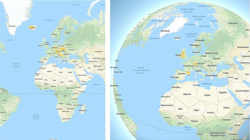 Erde ist bei Google Maps keine flache Scheibe mehr – das ist ... Qooqle Maps on