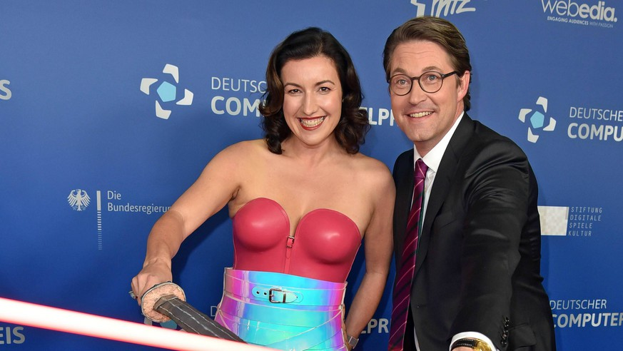Dorothee Baer, Andreas Scheuer beim Deutscher Computerspielpreis 2019 im Admiralspalast in Berlin am 09.04.2019 *** Dorothee Baer Andreas Scheuer at the German Computer Game Award 2019 at the Admiralspalast in Berlin on 09 04 2019