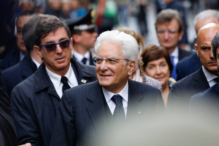 April 13, 2019 - Naples, Naples - Italy, Naples 13 April 2019 the President of the Republic Sergio Mattarella today visited the museum of Capodimonte to visit the exhibition of Caravaggio, and then to the popular health district among the people..In Photo: Presidente Sergio Mattarella Naples PUBLICATIONxINxGERxSUIxAUTxONLY - ZUMAs236 20190413_zap_s236_021 Copyright: xFabioxSassox