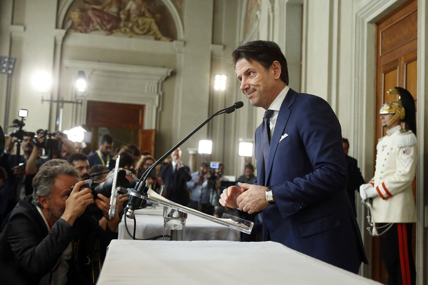 Giuseppe Conte speaking to the press Rome August 29th 2019. Quirinale. After days of consultations, Giuseppe Conte is the appointed premier, charged by the President of the Republic. Conte accepted the charge with reserve. Foto Samantha Zucchi Insidefoto PUBLICATIONxNOTxINxITA SamanthaxZucchi