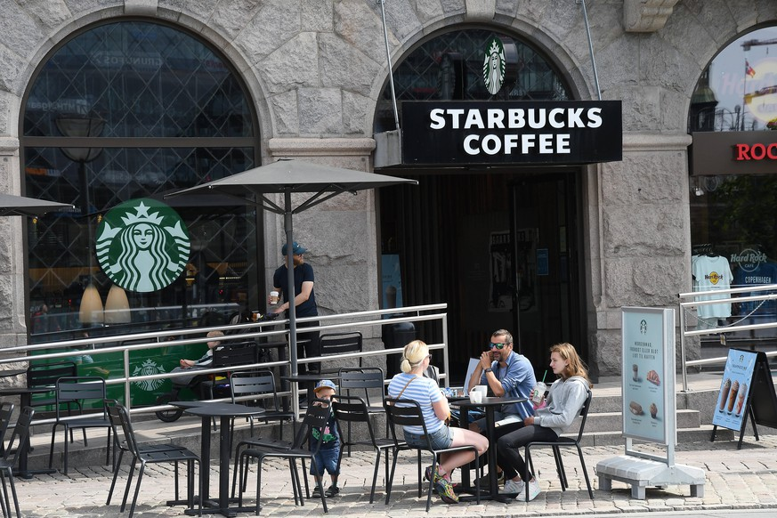Copenhagen,Denmark/14.July.2020/ Seattle coffee cahin startbucks coffee cafe i danish capital. Photo..Francis Joseph Dean/DeanPictures
