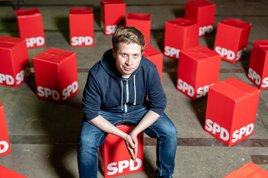 WITTENBERG, GERMANY - MAY 06: Kevin Kühnert, head of Jusos, the youth arm of the German Social Democrats (SPD), poses for a photo during an event to promote SPD candidates in local city council elections on May 6, 2019 in Wittenberg, Germany. Kühnert recently made international headlines by voicing his opinion that large German corporations like BMW should be collectivized in order to democratize corporate profits. Many German politicians, including within the SPD, reacted to his comment with sharp criticism. (Photo by Jens Schlueter/Getty Images)