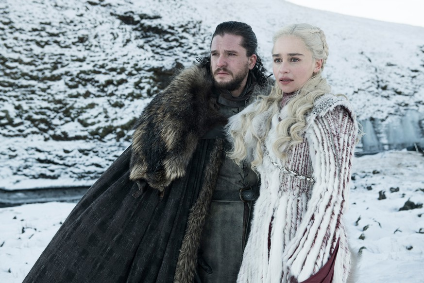 This photo released by HBO shows Kit Harington as Jon Snow, left, and Emilia Clarke as Daenerys Targaryen in a scene from
