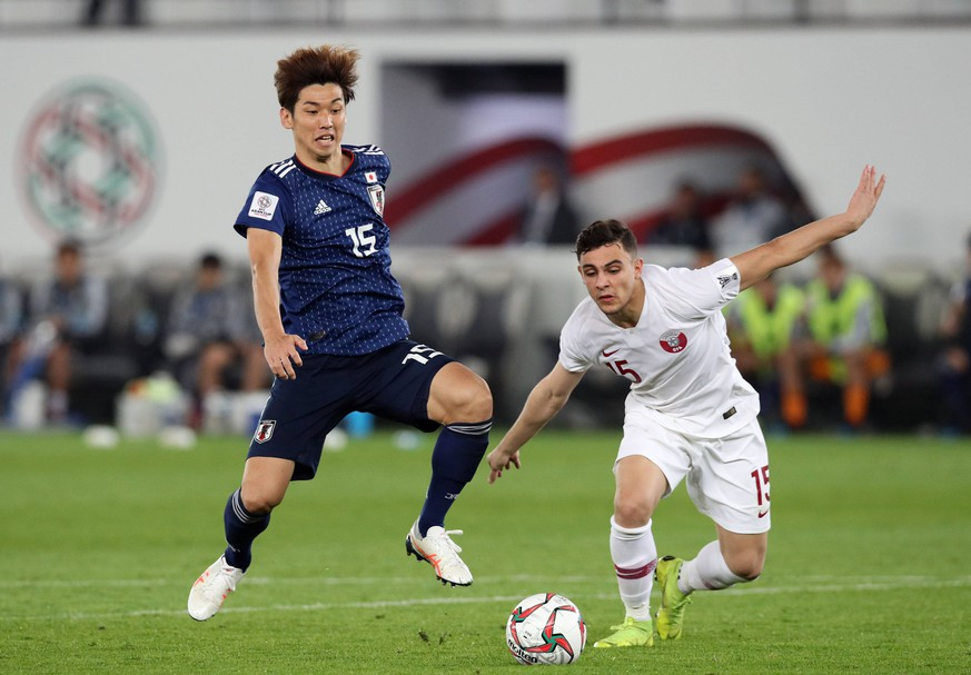 Yuya Osako (JPN), Bassam Alrawi (QAT), FEBRUARY 1, 2019 - Football / Soccer : AFC Asian Cup UAE 2019, Final match between Japan 1-3 Qatar at Zayed Sports City Stadium in Abu Dhabi, United Arab Emirates. NOxTHIRDxPARTYxSALES. PUBLICATIONxINxGERxSUIxAUTxHUNxONLY (96234935)