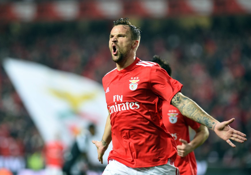 (190211) -- LISBON, Feb. 11, 2019 (Xinhua) -- Haris Seferovic of Benfica celebrates after scoring during the Portuguese League soccer match between SL Benfica and CD Nacional at Luz stadium in Lisbon, Portugal, on Feb. 10, 2019. Benfica won 10-0. (Xinhua/Zhang Liyun) (SP)PORTUGAL-LISBON-FOOTBALL-PORTUGUESE LEAGUE PUBLICATIONxNOTxINxCHN