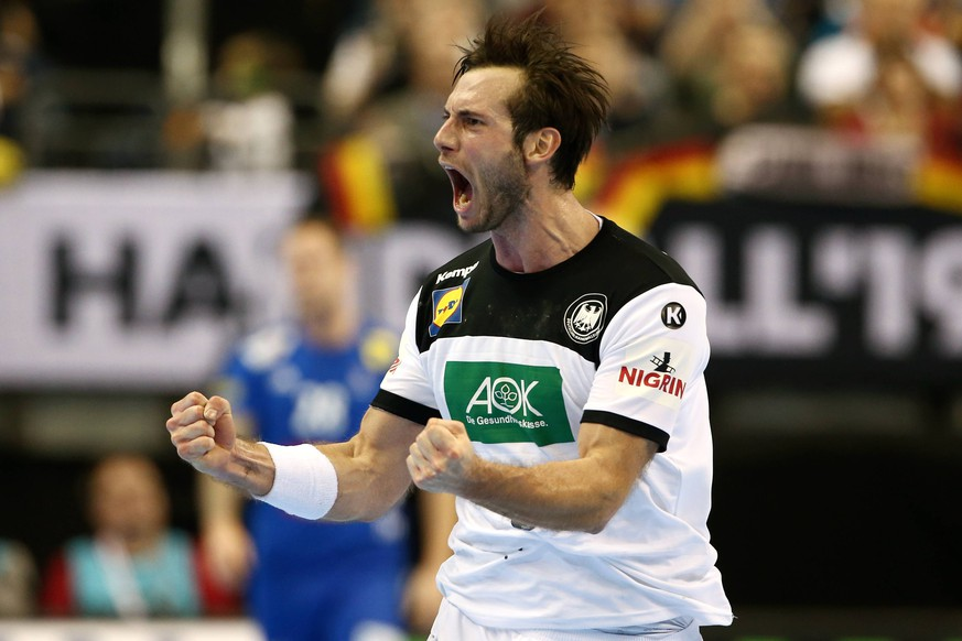 Uwe Gensheimer / Freude / Emotion / jubelnd / Jubel nach Tor / / Handball / Weltmeisterschaft WM Herren / Saison 2018/2019 / 15.01.2019 / Deutschland GER DHB vs.Frankreich FRA / *** Uwe Gensheimer joy emotion cheering cheering jubilation after goal sport handball world championship men season 2018 2019 15 01 2019 Germany GER DHB vs France FRA