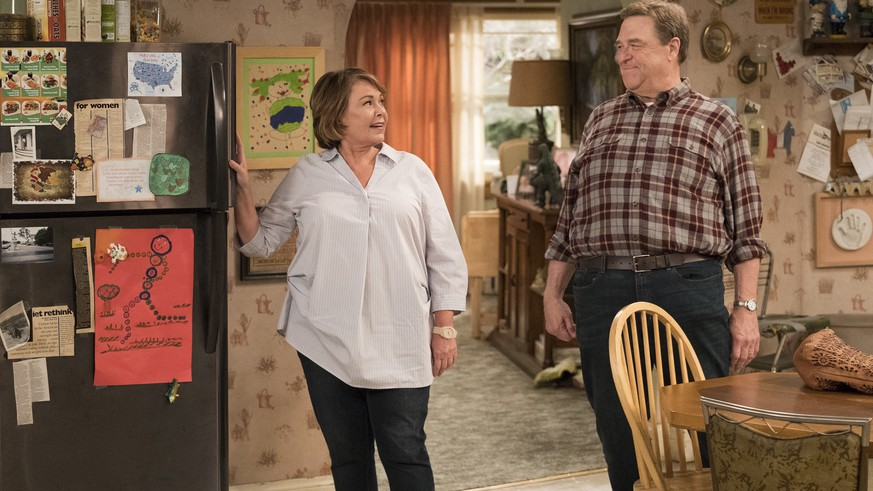 In this image released by ABC, Roseanne Barr, left, and John Goodman appear in a scene from