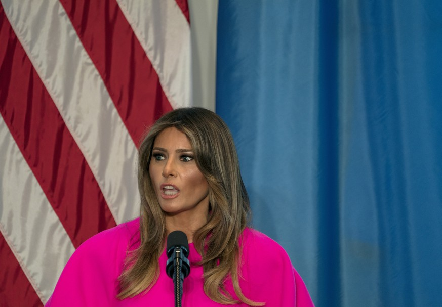 FILE - In this Sept. 20, 2017, file photo, first lady Melania Trump addresses a luncheon at the U.S. Mission to the United Nations in New York. Trump