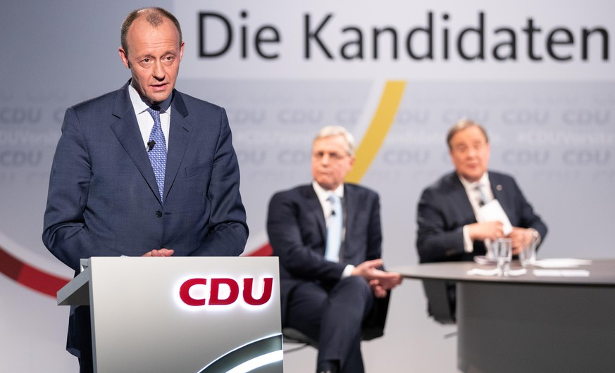 BERLIN, GERMANY - JANUARY 08: Friedrich Merz, candidate for the presidency of Germany's Christian Democratic Union attends discussion with other candidates in CDU headquarter on December 8th, 2021 in Berlin, Germany. Leading members of the German Christian Democrats (CDU) Friedrich Merz, Armin Laschet and Norbert Roettgen, who are vying for the leadership of the party, debated with one another during their second round of live-streamed debates at CDU headquarters. The party is scheduled to elect a new leader later this month. (Photo by Andreas Gora - Pool/Getty Images)