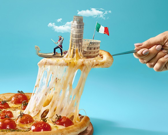 Taste Italy concept. The collage about Italy with female hand, gondolier, pizza and major sights. Travel, tourism concepts. Female hand holding spoon with micro gondolier, flag on a slice of pizza